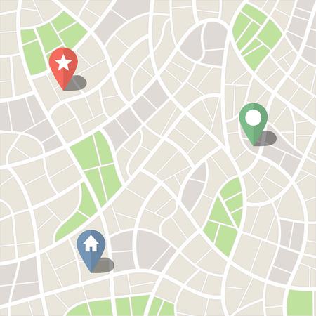 Abstracte Eenvoudige Stadsplattegrond met Park Zones en Pins