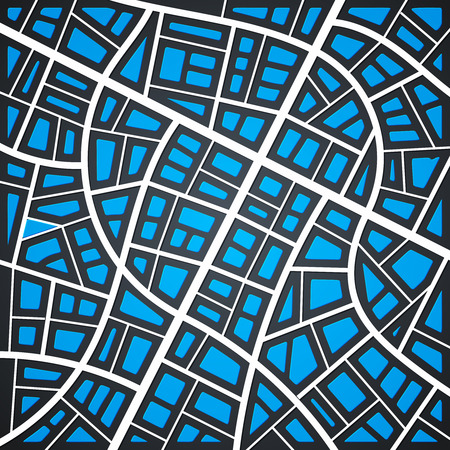 coordinates: Abstract City Map with Bright Blue Buildings on Dark Background Illustration