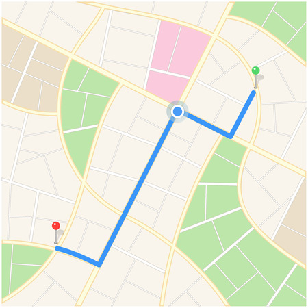Abstract Clear City Map with Path, Pins and Pointer Navigation Illustration