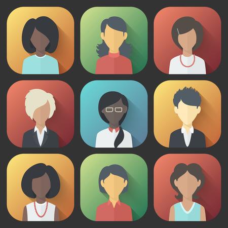 長い影とグラデーションの流行のフラット スタイルの人女性の異なる国籍のカラフルなアプリのアイコンを設定します。