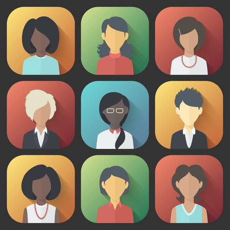 jobs cartoon: Colorful App Icons Set of Persons Female Different Nationality in Trendy Flat Style with Gradients and Long Shadows Illustration