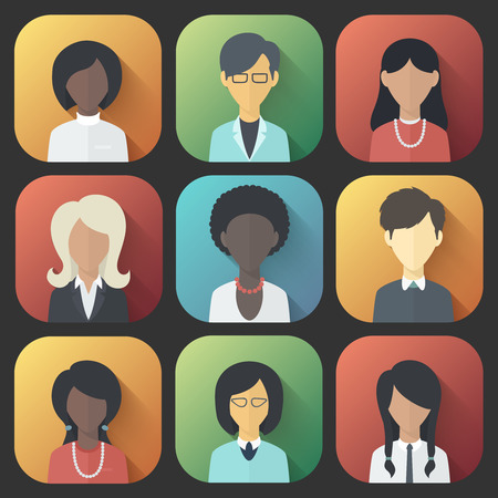 Bunte App Icons Set von Menschen weiblich Verschiedene Nationalität in Trendy Flat Style mit Steigungen und Long Shadows
