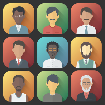 mulatto: Colorful App Icons Set of Persons Male Different Nationality in Trendy Flat Style with Gradients and Long Shadows
