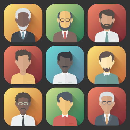 Colorful App Icons Set of Persons Male Different Nationality in Trendy Flat Style with Gradients and Long Shadows Vector