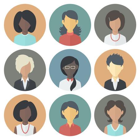 流行のフラット スタイルの人女性の異なる国籍のカラフルなサークルのアイコンを設定します。  イラスト・ベクター素材
