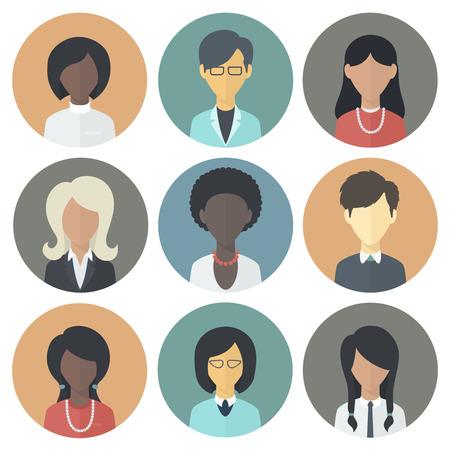 feminino: Ícones coloridos do Círculo Conjunto de Pessoas femininas diferentes Nacionalidade em Trendy Plano Estilo