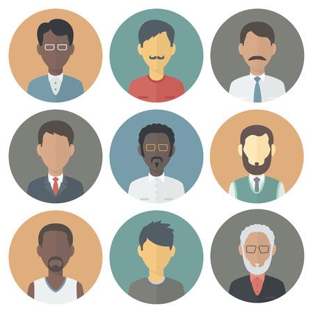 caucasians: Colorful Circle Icons Set di persone di sesso maschile differente nazionalit� in Trendy piatto Style Vettoriali