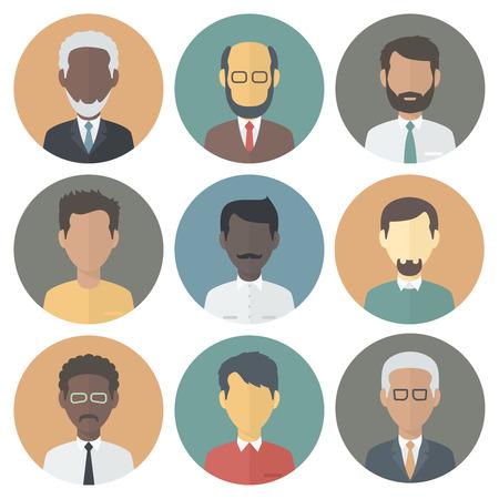 Bunte Kreis Icons Set von Personen Männlich Verschiedene Nationalität in Trendy Wohnung Art