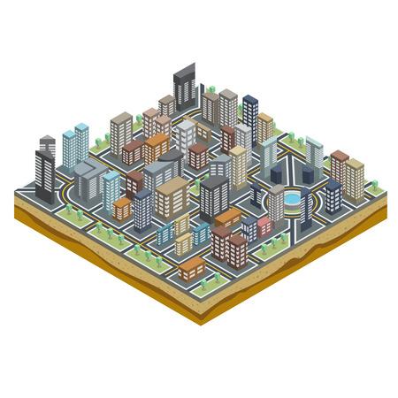고속도로: 거리와 Isometric 관점에서 건물 추상 도시지도