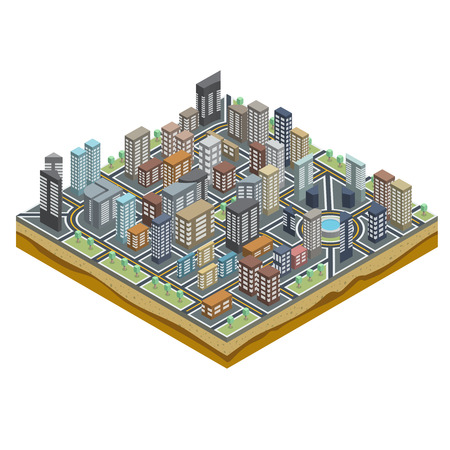 Abstract City Map with Streets and Buildings in Isometric Perspective Vector