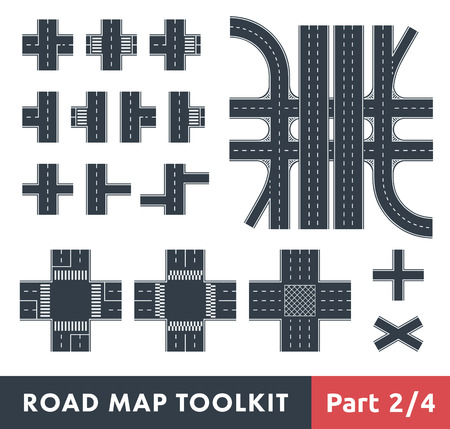 Road Map Toolkit. Part 2 of 4: Crossroads and Pedestrian Crossings  イラスト・ベクター素材