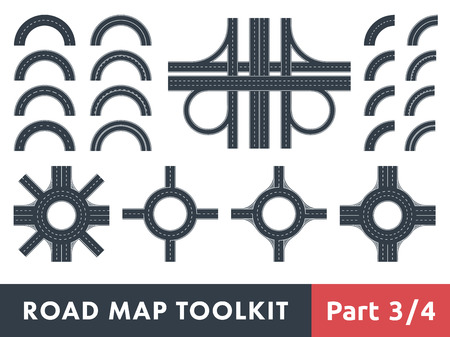 Road Map Toolkit. Teil 3 von 4: Schaltet Straßen und Kreisverkehre Illustration