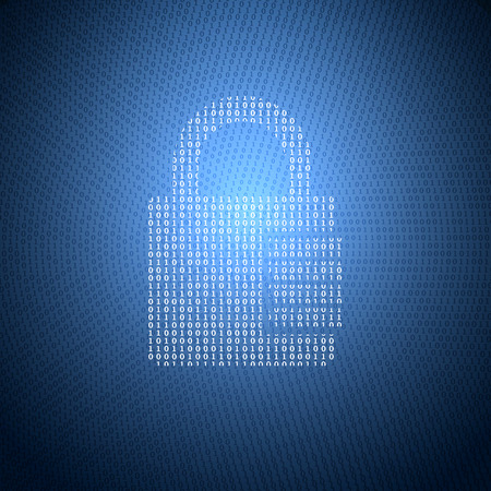 暗い青色の背景にバイナリ コードからロックの熱烈なシンボルです。情報セキュリティのテーマの概念図。