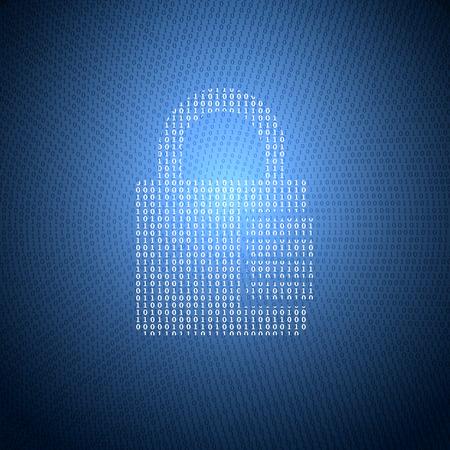 Glühend Symbol für die Sperre von einem Binärcode auf einem dunkelblauen Hintergrund. Konzept Illustration zum Thema Informationssicherheit.
