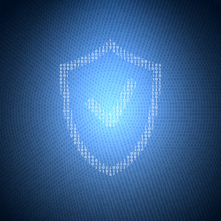 blue shield: Glowing Symbol of the Shield from a Binary Code on a Dark Blue Background. Concept Illustration on the Theme of Information Security.