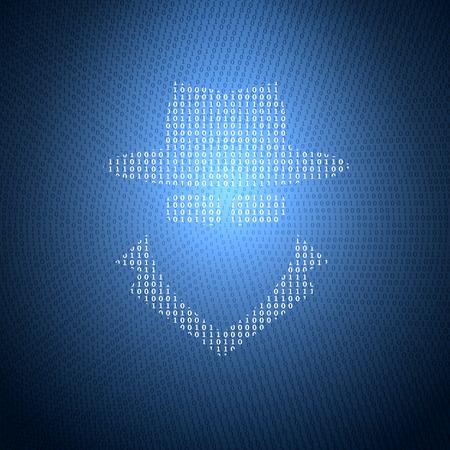 Glühend Symbol für die Spy von einem Binärcode auf einem dunkelblauen Hintergrund. Konzept Illustration zum Thema Informationssicherheit.