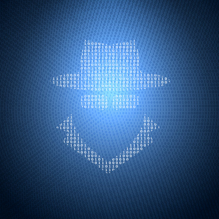 Glowing Symbol of the Spy from a Binary Code on a Dark Blue Background. Concept Illustration on the Theme of Information Security.