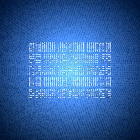 暗い青色の背景のバイナリ コードから壁の光るシンボルです。情報セキュリティをテーマとしたコンセプト イラスト。