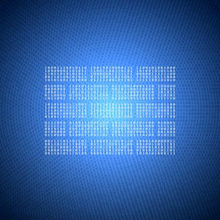 numeros: Resplandeciente S�mbolo de la pared de un c�digo binario en un fondo azul oscuro. Concepto ilustraci�n en el tema de la Seguridad de la Informaci�n.