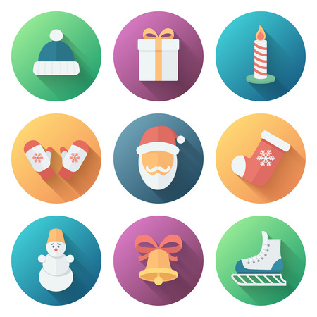 Funny Christmas Bright Colors Ball Icons in Flat Style with Long Shadows Vector