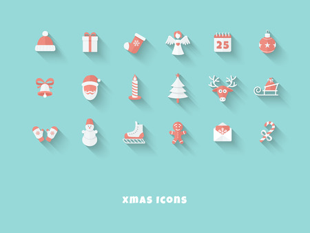 Funny Christmas Red-White Icons in Flat Style with Long Shadows on Blue Background Illustration