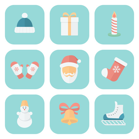 Funny Christmas Quiet Colors Icons in Flat Style on Round Squares Vector