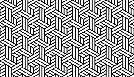 Black and White Optical Geometric Seamless for Printing on Fabric – Abstract Background with Pattern in Swatches Panel Illustration