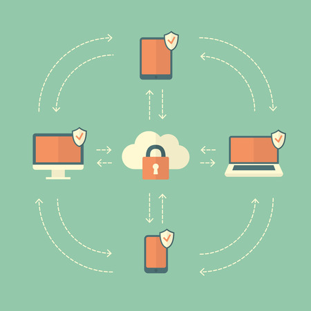 Secure Cloud Synchronize Data between Devices. Conceptual illustration of a Flat Style. Vector