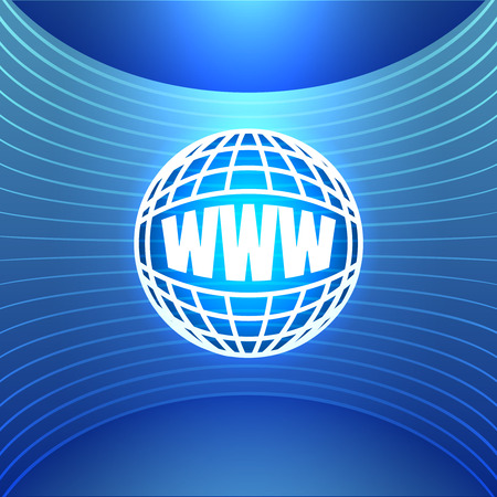 world wide: Icon World Wide Web on the Abstract Blue Background. Bright Glowing Conceptual illustration.