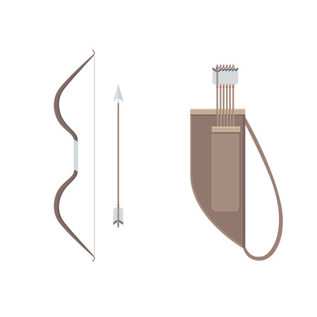 archer of bow: A Set of Archer: Bow, Arrows and Quiver - Cartoon Illustration Isolated on White Background