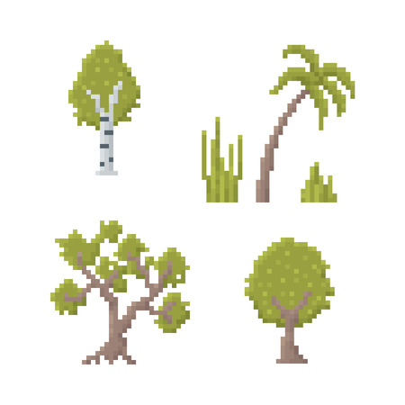 white birch tree: Set of Trees Isolated on White - Old School Pixel Art Illustration