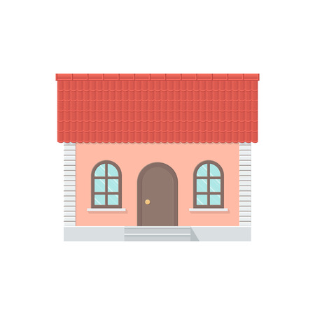 roof tile: One-storey House with a Tiled Roof, Front View. Detailed Illustration with Shadows Isolated on White Background