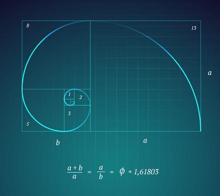 Eine glühende Scheme der Golden Ratio auf dunkelblauem Hintergrund mit einer mathematischen Formel Illustration