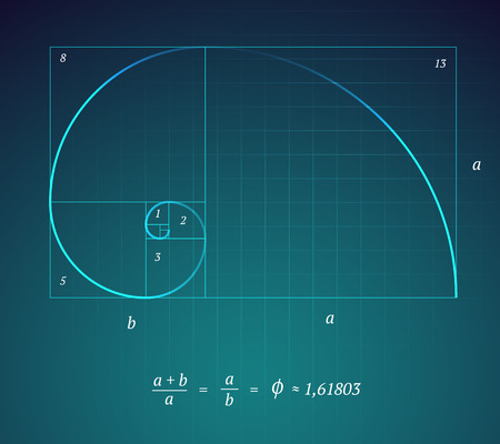 nombre d or: Un sch�ma Glowing du Golden Ratio sur fond bleu fonc� avec une formule math�matique