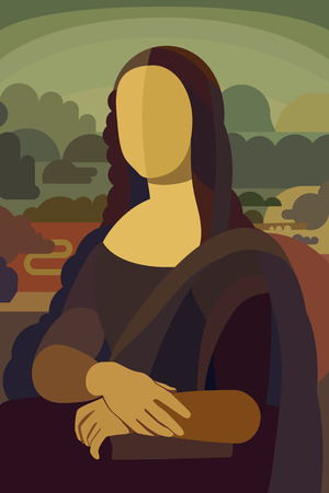 Stylized Painting Mona Lisa in Simple Flat Style - Conceptual Illustration