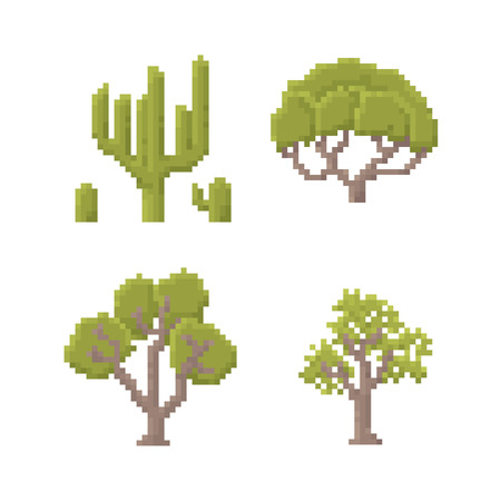 8 bit: Set of Trees Isolated on White - Old School Pixel Art Illustration