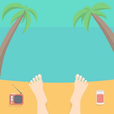 male feet: Male Feet Resting on the Background of the Beach, Sea and Sky with Palm Trees. Cartoon Illustration in Flat Style.