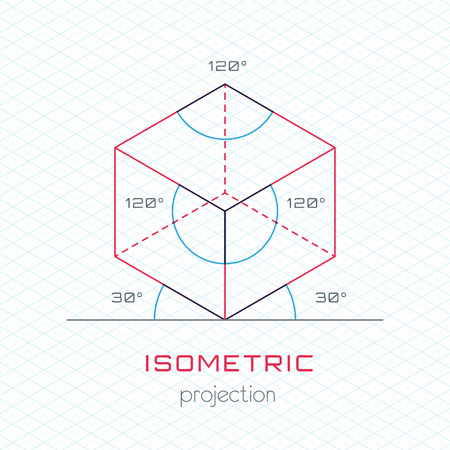 guideline: Frame Object in Axonometric Perspective  Isometric Grid Template Guideline Illustration