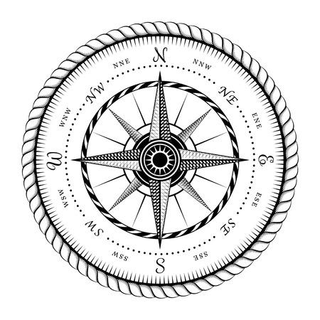 rosa de los vientos: Símbolo antiguo de Wind Rose Grabado Ilustración estilizada aisladas sobre fondo blanco