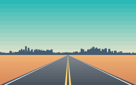road: Road in the Desert with Views of the City Skyline  Stylized Conceptual Illustration