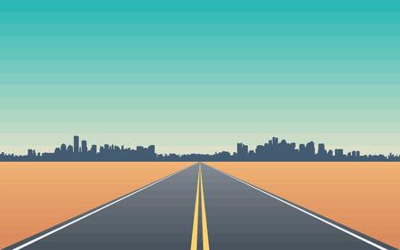 route: Route dans le désert avec vue sur les toits de la ville stylisée illustration conceptuelle