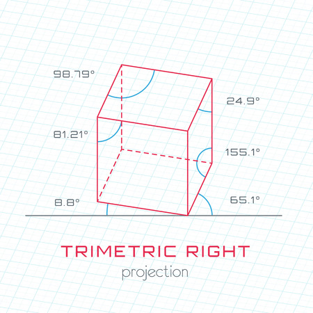 guideline: Frame Object in Axonometric Perspective  Trimetric Right Template Guideline Illustration