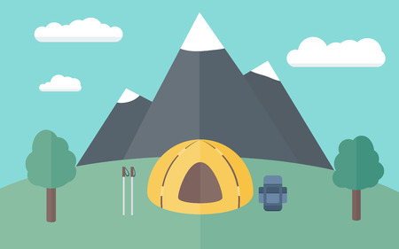 waypoint: Camping on the Meadow on a Background of Mountains  Simple Illustration in Flat Style
