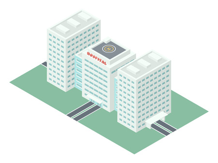 city buildings: Hospital Building  Detailed Illustration in Isometric Projection Isolated on White Background Illustration