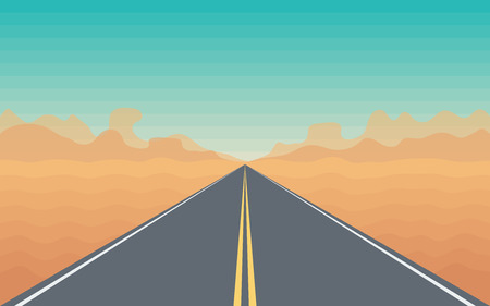 long road: Road in The Desert with a Mountain View  Stylized Landscape Illustration