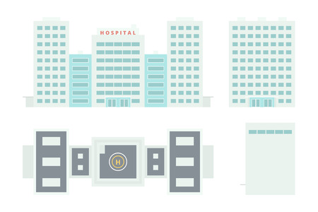 2d map: Hospital Building: Front Side Top  Template for Creation Axonometric Projections Isolated on White Background