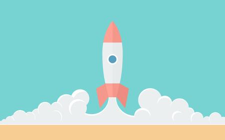 cohetes: Blast Off ilustraci�n simple en estilo Flat Vectores