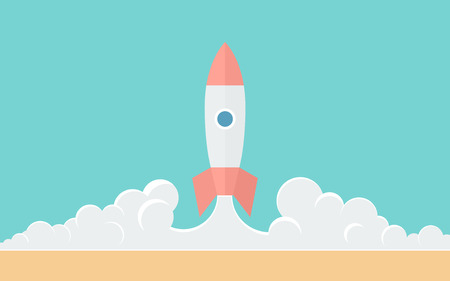 cartoon rocket: Blast Off  Simple Illustration in Flat Style Illustration