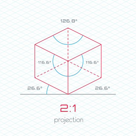 guideline: Frame Object in Axonometric Perspective  2:1 Grid Template Guideline Illustration