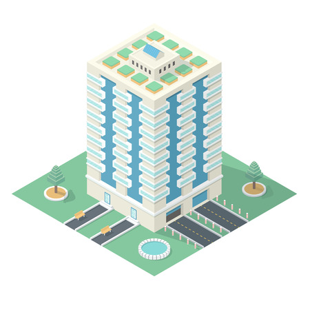 high detailed: Ecofriendly HighRise Building with a Landscaped Courtyard  Detailed Illustration in Isometric Projection Isolated on White Background Illustration